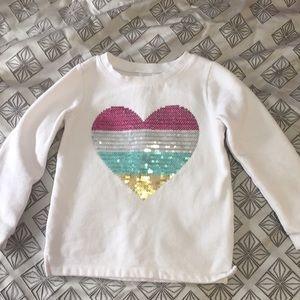 Girls 4T sequin heart sweatshirt
